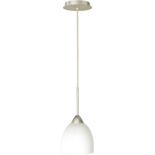 MONUMENT� 1-LIGHT PENDANT WITH FROSTED OPAL GLASS, BRUSHED NICKEL, 6 X 11-3/4 IN., 1 100-WATT E26 BASE BULB (NOT INCLUDED)