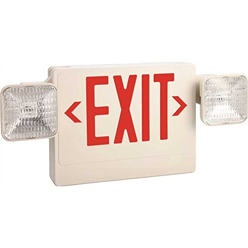 MONUMENT� EXIT AND LED EMERGENCY LIGHT COMBINATION, SINGLE FACE WITH RED EXIT LETTERS, REMOTE HEAD CAPABLE