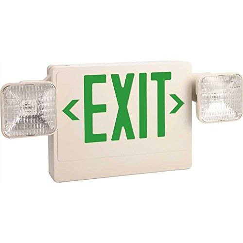 MONUMENT� EXIT AND LED EMERGENCY LIGHT COMBINATION, SINGLE FACE WITH GREEN EXIT LETTERS, 6-WATTS, 6 VOLTS