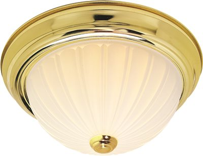 MONUMENT� FLUSH MOUNT DOME CEILING FIXTURE, POLISHED BRASS, 13 IN., 2 13-WATT GU24 LAMPS INCLUDED