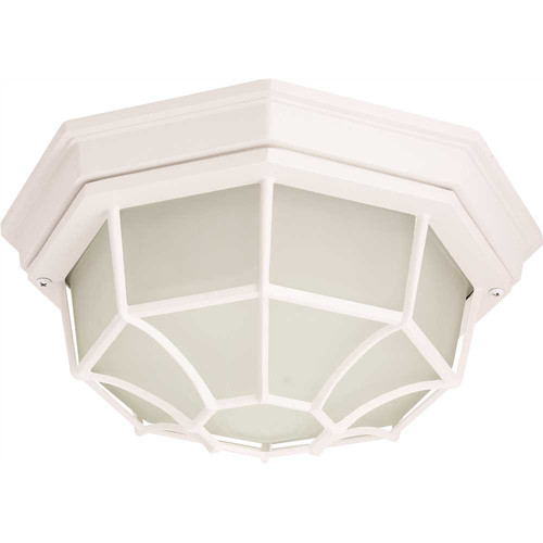 MONUMENT� 1-LIGHT OUTDOOR OCTAGON CEILING FIXTURE, FROSTED GLASS, 10-1/4 X 5-1/4 IN., BLACK, USES 60-WATT MEDIUM BASE LAMP*