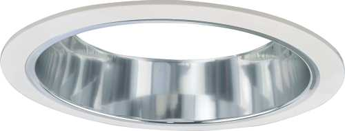 """MONUMENT RECESSED LIGHTING 6"""" CHROME ALZAK REFLECTOR WITH WHITE TRIM RINGS"""