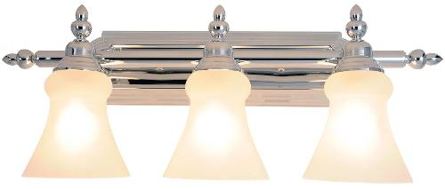 DECORATIVE VANITY FIXTURE, MAXIMUM THREE 100 WATT INCANDESCENT MEDIUM BASE BULBS, 24-3/4 IN., POLISHED CHROME