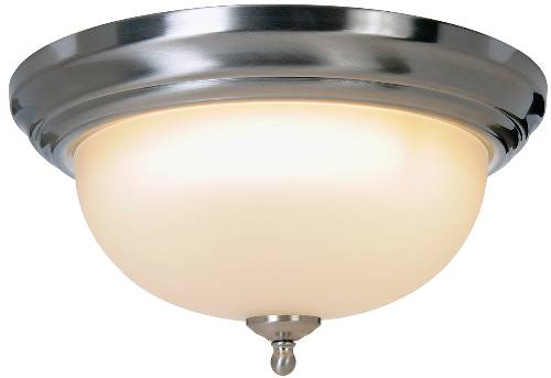 SONOMA� FLUSH MOUNT CEILING FIXTURE WITH ONE 22 WATT COMPACT TYPE FLUORESCENT LAMP, 13-1/4 IN., BRUSHED NICKEL