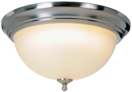 SONOMA� FLUSH MOUNT CEILING FIXTURE WITH ONE 30 WATT COMPACT TYPE FLUORESCENT LAMP, 15-1/2 IN., BRUSHED NICKEL