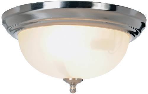 "SONOMA� FLUSH MOUNT CEILING FIXTURE, MAXIMUM TWO 60 WATT INCANDESCENT MEDIUM BASE BULBS, 13-1/4"", BRUSHED NICKEL"