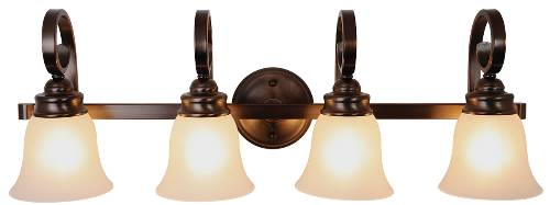 SANIBEL� VANITY FIXTURE, MAXIMUM FOUR 60 WATT INCANDESCENT MEDIUM BASE BULBS, 32-1/2 IN., OIL RUBBED BRONZE