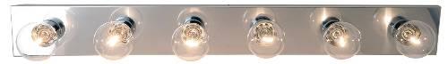 "36"" Royal Cove Vanity Strip Light Fixture, Uses 6 60W Incandescent G25 Medium Base Bulbs, Polished Chrome"