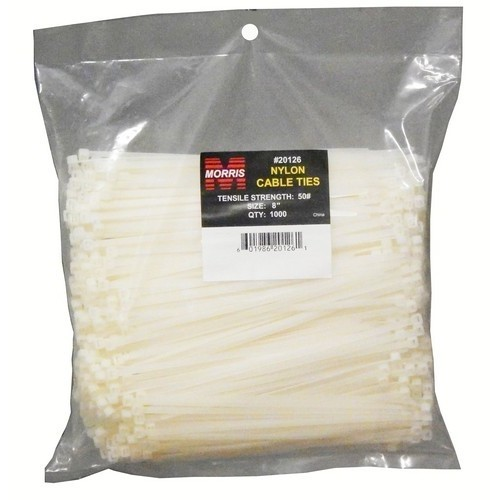 "Nylon Cable Ties - Bulk Pack  50LB 8"" 1000 Pk"