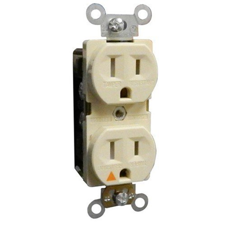 Tamper Resistant Isolated Ground Duplex Receptacles 15A 125V Ivory
