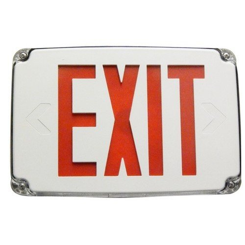 Compact Cold Weather & Wet Location LED Exit Sign Battery Backup Red LED White Housing