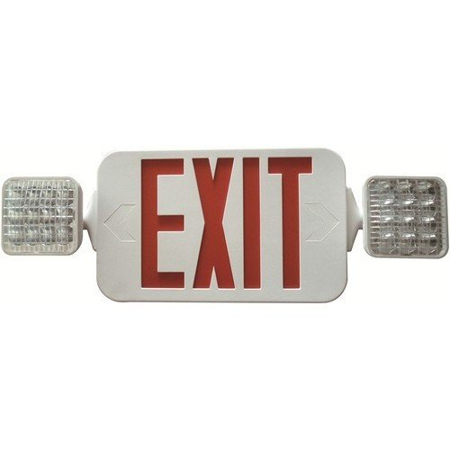 Square Head LED Combo Exit/Emergency Light High Output Red LED White Housing