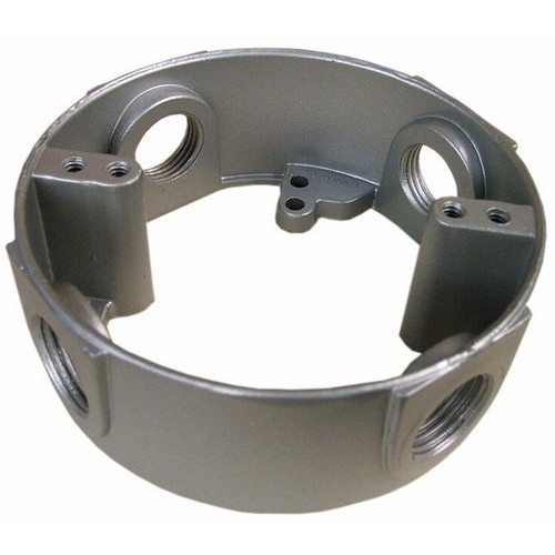 """4"""" Round Weatherproof Box Extensions - Four Holes 1/2"""" Gray"""