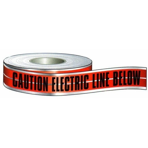 "Detectable Tape 'Caution Buried Electric Line Below' (3"" X 1000Ft Red)"