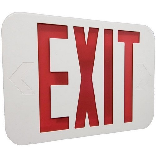LED Exit Sign Red LED White Housing Battery Backup