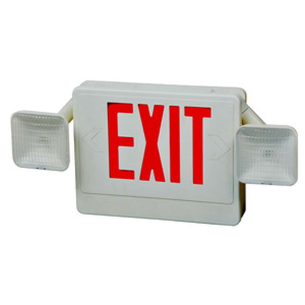 Combo LED Exit & Incandescent Emergency Light Red LED White Housing