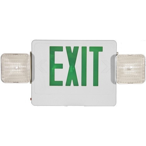 Combo LED Exit & Incandescent Emergency Light Green LED White Housing Remote Capable