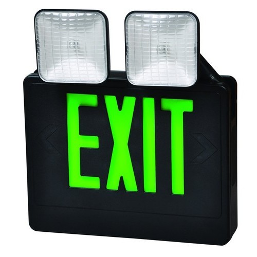 Combo LED Exit & Incandescent Emergency Light Green LED Black Housing