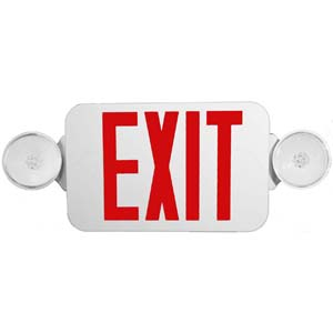 Micro Combo LED Exit Emergency Light, Red LED, White Housing