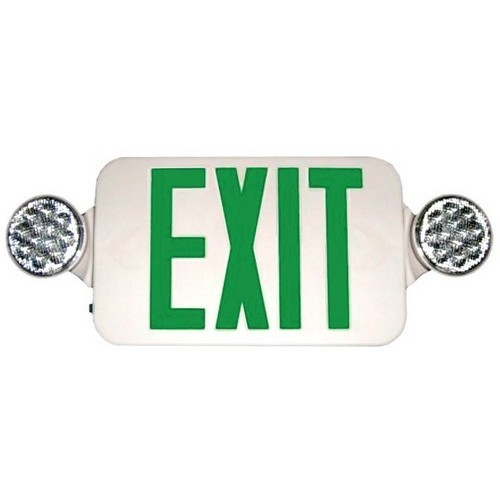 Micro Combo LED Exit Emergency Light, Green LED, White Housing