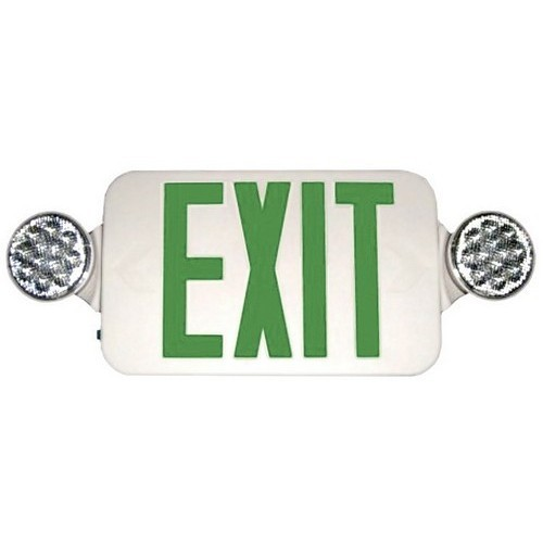 Micro Combo LED Exit Emergency Light, High Output, Remote Capable, Green LED, White Housing