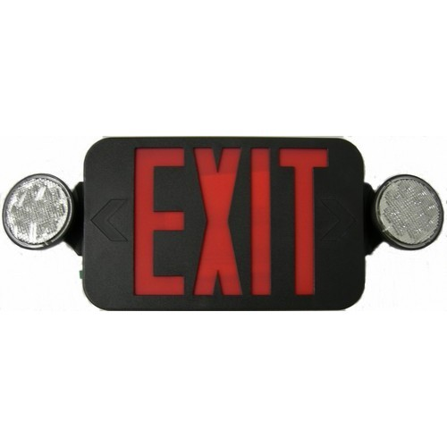 Micro Combo LED Exit Emergency Light, High Output, Remote Capable, Red LED, Black Housing