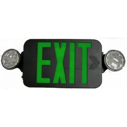 Micro Combo LED Exit Emergency Light, High Output, Remote Capable, Green LED, Black Housing