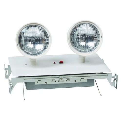 Recessed Twin Head Emergency Lighting White