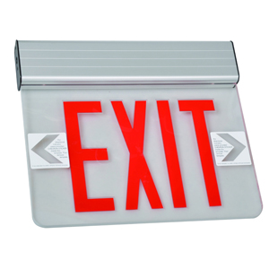 Surface Mount Edge Lit Exit Sign Single Sided Legend Red LED Aluminum Housing
