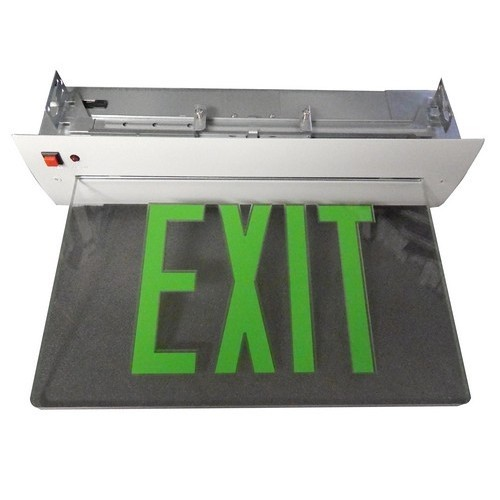 Recessed Mount Edge Lit Exit Sign Double Sided Legend Green LED White Housing