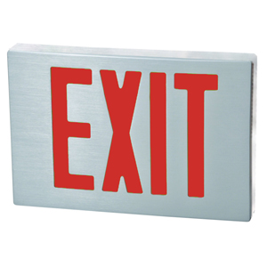 Cast Aluminum LED Exit Sign - Red LED - Aluminum Housing - Aluminum Face