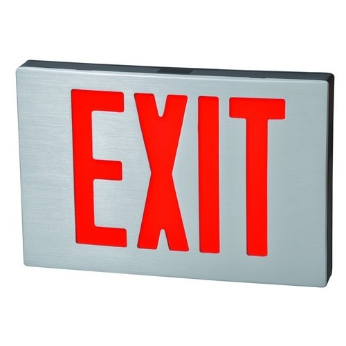 Cast Aluminum LED Exit Sign - Red LED - Black Housing - Aluminum Face