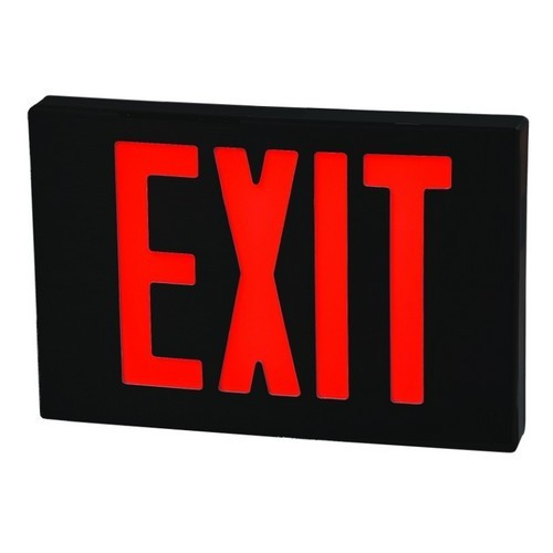 Cast Aluminum LED Exit Sign - Red LED - Black Housing - Black Face