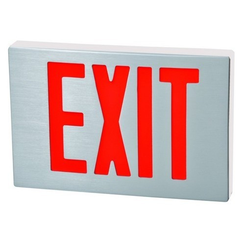 Cast Aluminum LED Exit Sign - Red LED - White Housing - Aluminum Face