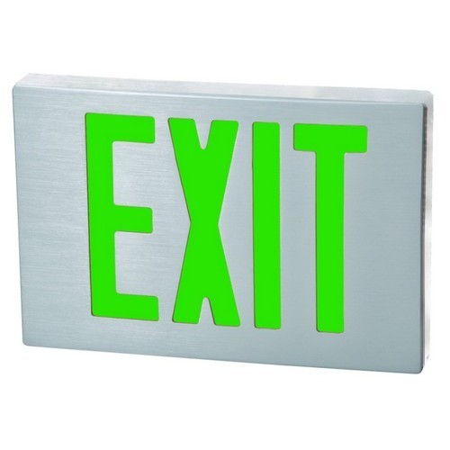 Cast Aluminum LED Exit Sign - Green LED - Aluminum Housing - Aluminum Face