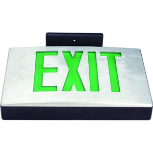 Cast Aluminum LED Exit Sign - Green LED - Black Housing - Aluminum Face