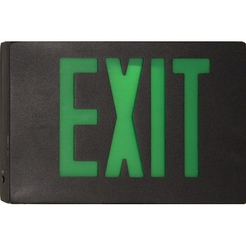 Cast Aluminum LED Exit Sign - Green LED - Black Housing - Black Face