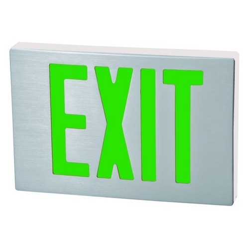 Cast Aluminum LED Exit Sign - Green LED - White Housing - Aluminum Face
