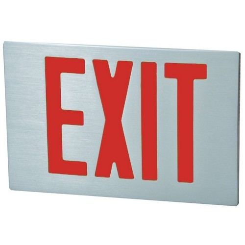 Cast Aluminum LED Exit Sign Face Plate RED LED Brushed Aluminum Face