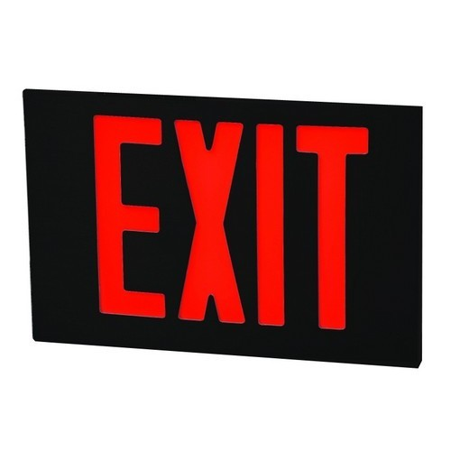 Cast Aluminum LED Exit Sign Face Plate Red LED Black Face