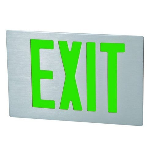 Cast Aluminum LED Exit Sign Face Plate Green LED Brushed Aluminum Face