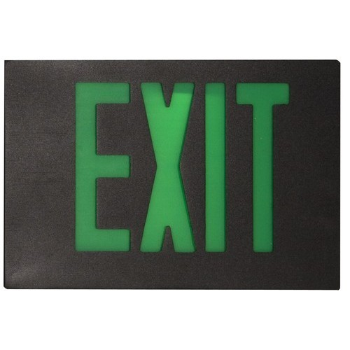 Cast Aluminum LED Exit Sign Face Plate Green LED Black Face