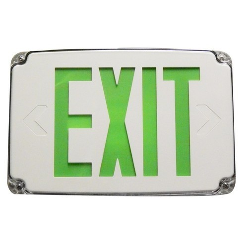 Compact Cold Weather & Wet Location LED Exit Sign Battery Backup Green LED White Housing