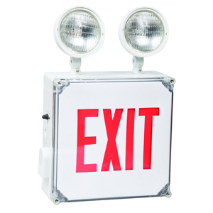 Combo Wet Location LED Exit & Incandescent Emergency Light Red Legend