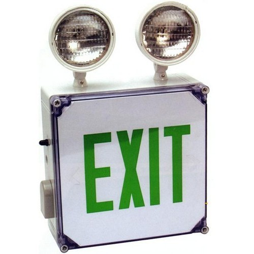 Combo Wet Location LED Exit & Incandescent Emergency Light Green Legend