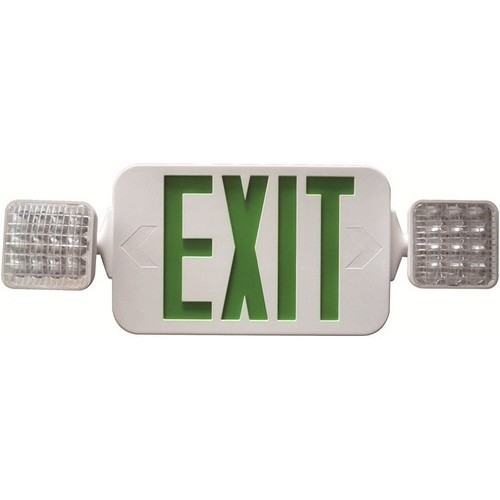 Square Head LED Combo Exit/Emergency Light High Output Green LED White Housing