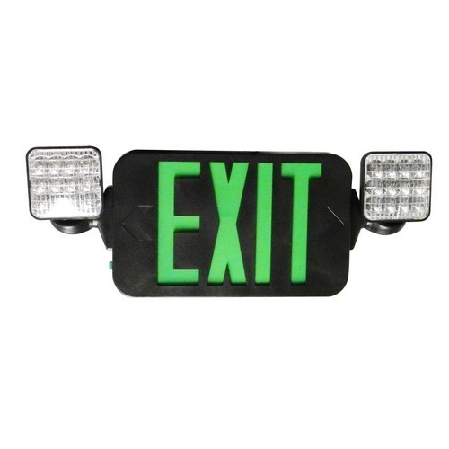 Square Head LED Combo Exit/Emergency Light High Output Green LED Black Housing