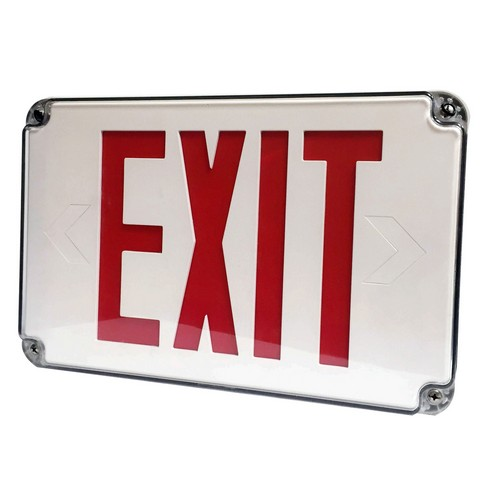 LED Wet Location Exit Signs Green Legend Remote Capable