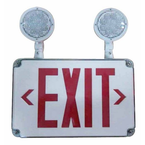 LED Wet Location Combo Exit Signs & Emergency Light Red Legend Remote Capable