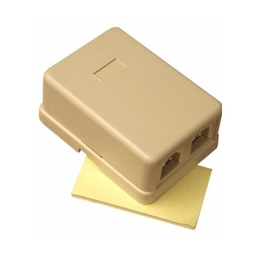 Double Surface Mount Wall Jack Ivory